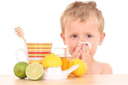 Image of boy with cold or flu