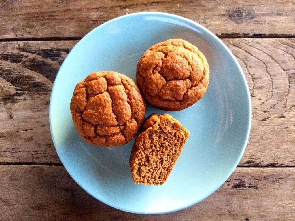Three pumpkin muffins on a plate